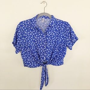 American Apparel Button Down Tie Front Crop Top